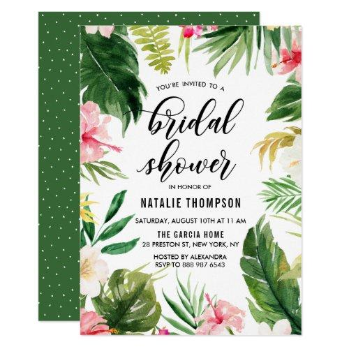 Watercolor Tropical Floral Frame Bridal Shower Invitations