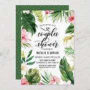 Watercolor Tropical Floral Frame Couples Shower Invitation