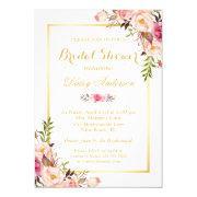 Wedding Bridal Shower Chic Floral Golden Frame Invitations