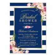 Wedding Bridal Shower | Navy Blue Stripes Floral
