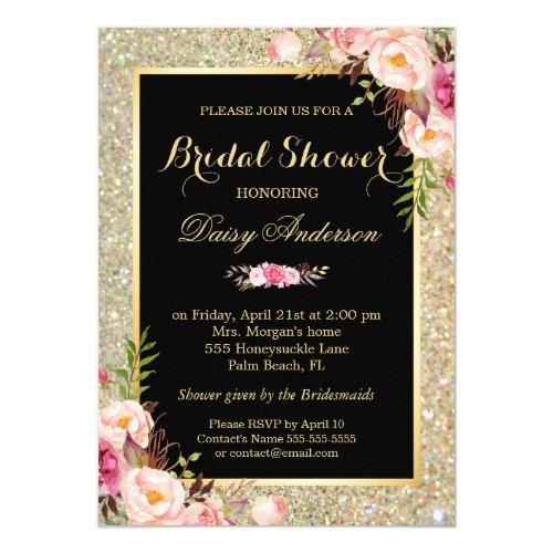 Wedding Bridal Shower Shiny Gold Sparkles Floral Invitations