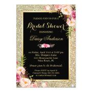 Wedding Bridal Shower Shiny Gold Sparkles Floral Invitation