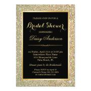 Wedding Bridal Shower Trendy Gold Glitter Sparkles
