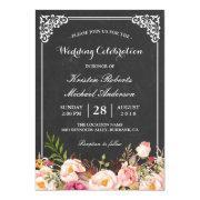 Wedding Celebration Vintage Pink Floral Chalkboard
