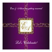Wedding Couples Shower  Purple Gold Leaf