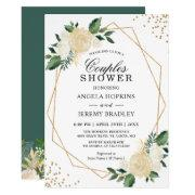 Wedding Couples Shower Modern Gold Greenery Floral