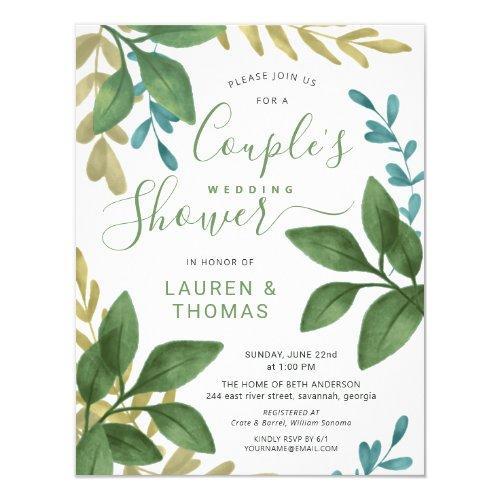 Wedding Couple's Shower Watercolor Foliage Invitation