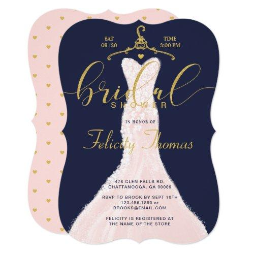 Wedding Dress Navy Gold Bridal Shower Invitation
