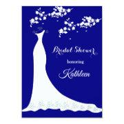 Wedding Gown, Blossom On Navy Blue, Bridal Shower