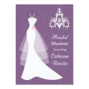 Wedding Gown, Chandelier On Purple Bridal Shower