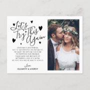 Wedding Postponement Change Date Try Again Photo Announcement Postinvitations