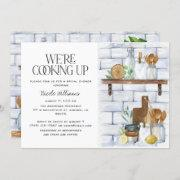 We're Cooking Up Watercolor Quote Bridal Shower Invitation