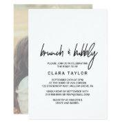 Whimsical Calligraphy Photo Back Brunch & Bubbly