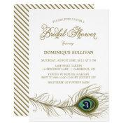 Whimsical Peacock Feather Bridal Shower Invitation