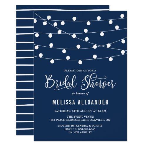 Whimsical String Lights Navy Blue Bridal Shower Invitations