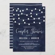 Whimsical String Lights Navy Blue Couples Shower Invitation