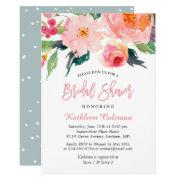 Whimsical Watercolor Floral Modern Bridal Shower Invitations