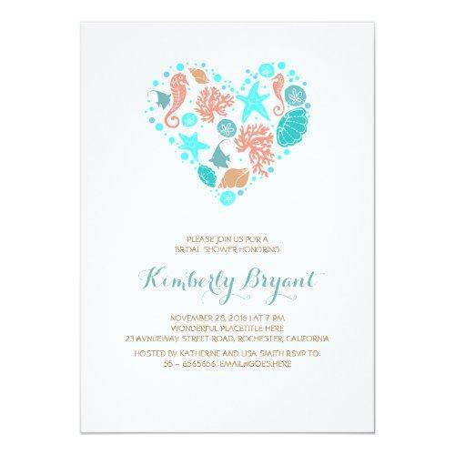 White Beach Heart Nautical Coastal Bridal Shower Invitations