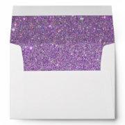 White Envelope, Purple Glitter Lined Envelope