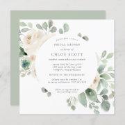 White Floral Botanical Square Bridal Shower Invitation