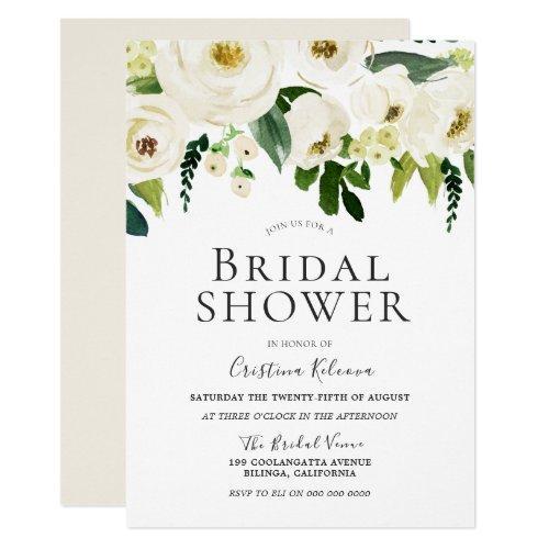 White Flowers & Cream Elegant Bridal Shower Invitation