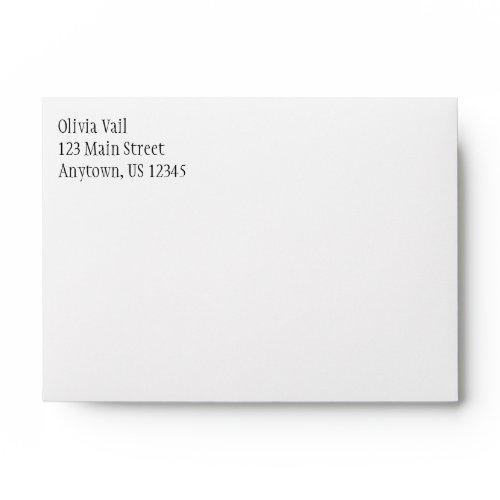 White Plain Simple A6 4x6 Return Address Envelopes