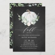 White Pumpkin Rustic Chalkboard Fall Bridal Shower Invitation