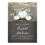 White Pumpkins Rustic Country Fall Bridal Shower Invitation