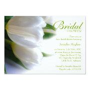White Tulips Bridal Shower Invitation