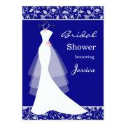 White Wedding Gown On Royal Blue Bridal Shower