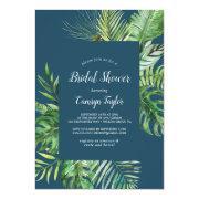 Wild Tropical Palm | Navy Blue Bridal Shower Invitation