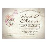 Wine & Cheese Birthday Invitations