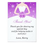 Winter Bride Purple Thank You Card Personalized Announcements