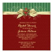 Winter Elegant Damask Christmas Bridal Shower Announcements