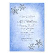 Winter Sparkle Snowflakes Blue Bridal Shower Invites