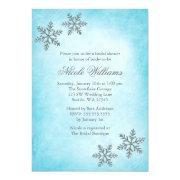 Winter Sparkle Snowflakes Teal Bridal Shower Custom Invitations
