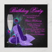 Womans Purple Peacock Birthday Party Invitation