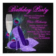 Womans Purple Peacock Birthday Party Invitations