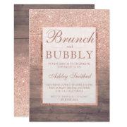 854698333fc2 Wood Rose Gold Glitter Brunch Bubbly Bridal Shower Invitations