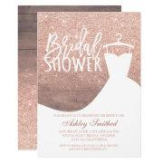 Wood Rose Gold Glitter Rustic Dress Bridal Shower Invitations
