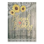 Wood Sunflowers Lace Brunch Bubbly Bridal Shower