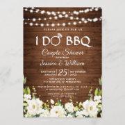 Wood & White Roses Floral I Do Bbq Couple Shower Invitation