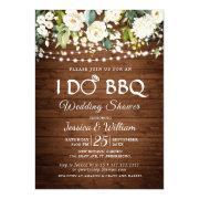 Wood & White Roses Floral I Do Bbq Wedding Shower Invitation