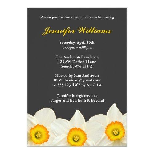 Yellow And Gray Daffodil Flower Bridal Shower Invitations