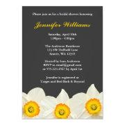 Yellow and Gray Daffodil Flower Bridal Shower Announcements
