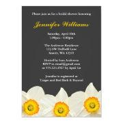 Yellow And Gray Daffodil Flower Bridal Shower Invitation