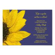 Yellow Sunflower Navy Bridal Shower Invitation