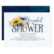 Yellow Sunflowers Elegant Navy Blue Bridal Shower Invitation
