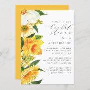 Yellow Watercolor Floral Elegant Bridal Shower Invitation