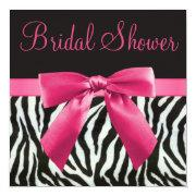 Zebra Stripes & Printed Pink Bow Bridal Shower Custom Invite